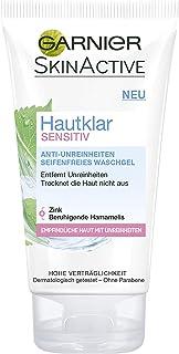 Garnier Hautklar Sensitive Anti-Impurities Soap-Free Wash Gel, Gentle Cleansing for Sensitive Skin, with Zinc and Witch Ha...