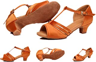zaragfushfd Ballroom Dance Shoes Women Flared Heel Latin Dress Shoes Salsa Wedding Shoes