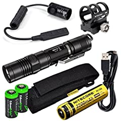 """1000 lumens output using CREE XM-L2 (U2) LED Integrated micro USB charging port. Rechargeable Li-ion 3200mAh 18650 battery included Nitecore 1 inch Weaver/Picatinny rail mount designed for Nitecore SRT7 SRT6 MT26 P16 P25 P12 and fits all 1"""" diameter ..."""