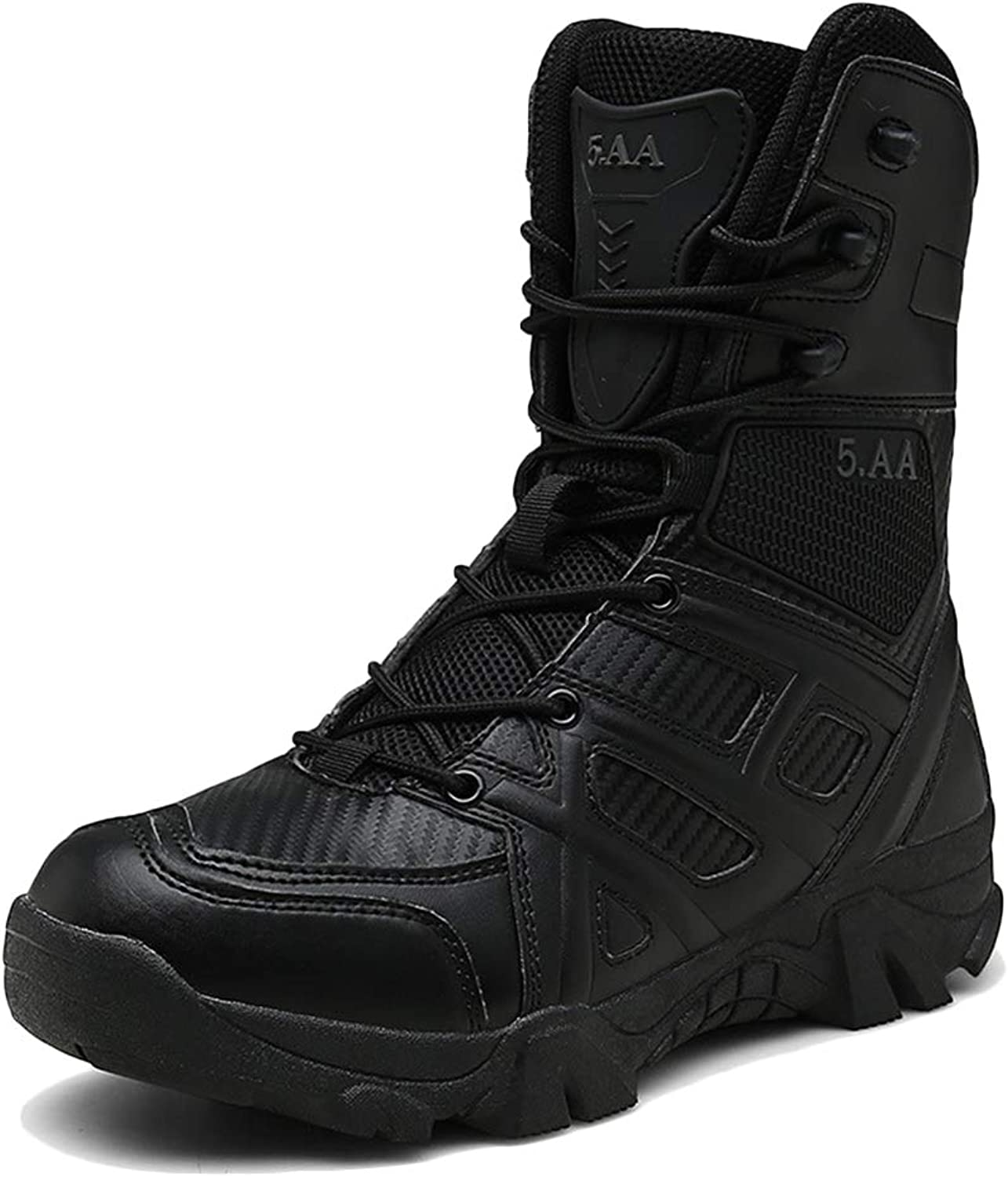 LIUYL Men's Desert Combat Boot Military Army Tactical Hiking shoes Side Zip leather High Top shoes Trekking Security Police Boot,Black-43