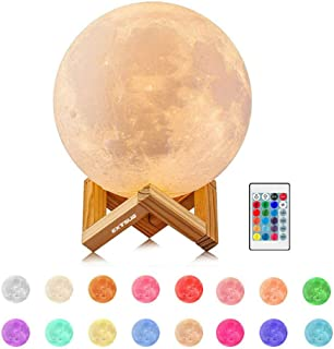 EXTSUD Lámpara de Luna, Luz de Luna LED Nocturna 15cm Luz Nocturna 16 Colores 4 Modos, Perfecto Regalo para Cumpleaños y Fiestas
