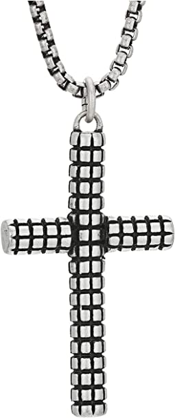 Textured Cross Pendant Rolo Chain Necklace