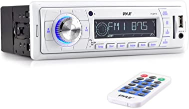 Pyle Stereo Marine Headunit Receiver - 12v Single DIN Style Digital Boat in Dash Radio System with MP3, USB, SD, AUX, RCA, AM FM Radio - Remote Control, Power Wiring Harness - PLMR18 (White)