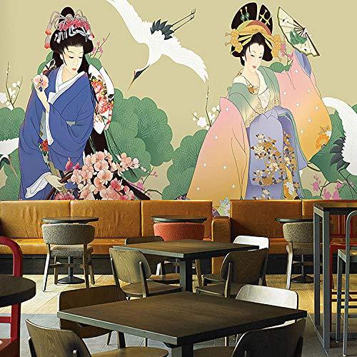 Sushi cuisine_Japanese Ukiyo-e Tapete Sushi Restaurant Restaurant Grill Hot Pot Shop Wandbild japanische Dame figureWallpaper 3D Fototapete Paste Grenze250cm×170cm
