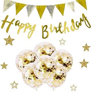 誕生日 飾り付け SEPO(15点セット)ガーランド風船 バースデー 飾り セット バルーン かざりつけ 一歳 ゴールデン