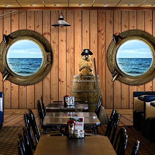 Papel pintado de madera con diseño de barco pirata 3D para habitación infantil, para restaurante, bar subacuático, temática mundial, 300 x 210 cm