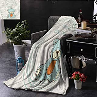 Homrkey Sweet Dreams Fleece Throw Blanket Double-Sided Printing Teddy Bear Sleep Bed Sleeping Travel Pets Reading W80 xL60