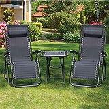 3 Piece Zero Gravity Reclining Garden Patio Deck Chair Sun Lounger, 2 Chair & Table Set, Charcoal