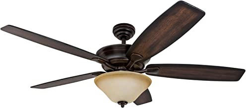 Prominence Home Morgantown, Traditional LED Ceiling Fan, 56-inches, 6-Speed, Tri-Mount Brushless DC Motor with Remote Control, Rustic Oak/Rosewood Fan Blades, Oil Rubbed Bronze