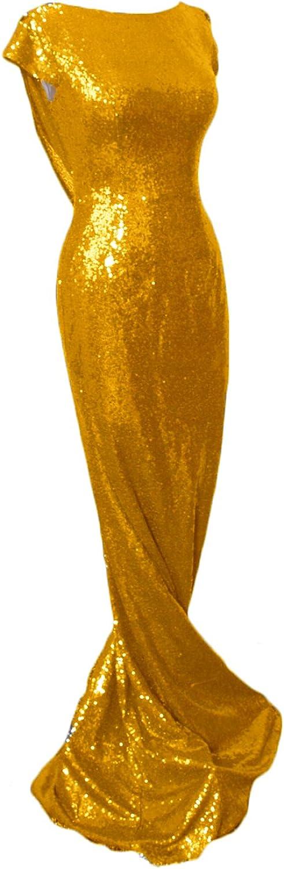 CIRCLEWLD One Shoulder Flutter Sleeve Mermaid Sequin Prom Dress Long Plus Formal