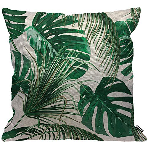 HGOD DESIGNS Cushion Cover Palm Leaves Jungle Leaf Throw Pillow Cover Home Decorative for Men/Women/Boys/Girls living room Bedroom Sofa Chair 18X18 Inch Pillowcase