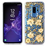 Galaxy S9 Plus Case,Bpowe Made with Real Flowers Luxury Glitter Case with Durable Shockproof 2-Layers Solid PC Cover Case + Flexible TPU Frame for Samsung Galaxy S9 Plus (Gold Petals)
