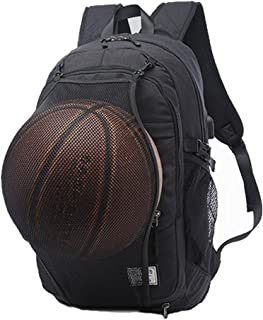 Gudui Laptop Backpack, Water Resistant Casual Hiking Travel Day Pack/College School Sports Bag with Basketball Net and USB Charging Port for Women/Men Fits 15.6 inch Notebook and Tablet (Black)