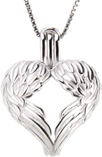 NY Jewelry 925 Sterling Silver Angel Heart Wings Pendants for Pearl, Pearl Cage Pendants for Women Pearl Jewelry Making