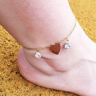 Auony Lot de 5 bracelets de cheville cha/îne de cheville boh/ème pour femme et fille Plaqu/é or argent