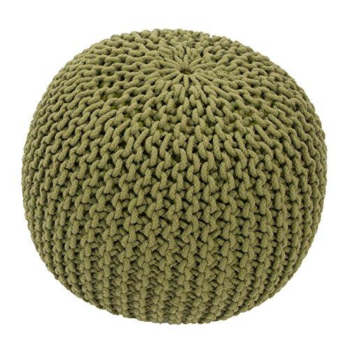 Jaipur Solid Pattern Green Cotton Pouf, 20-Inch x 20-Inch x 14-Inch, Fern Spectrum