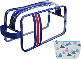 HOYOFO Clear Travel Toiletry Bag TSA Approved Carry-on Makeup Bags with Handle Strape Waterproof Sundries Pouch for Bottles, Blue