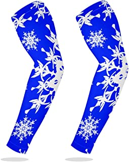 UV Protection Cooling Arm Sleeves Sports Running Golf Cycling Basketball Driving Fishing Long Arm Cover Sleeves with White Ornate Snowflakes