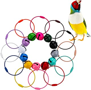 DQITJ 12 Pcs Bird Parrot Colorful Wire Ring Toy & 12 Pcs Colorful Metal Small Bell DIY Cage Accessories (Colors May Vary)
