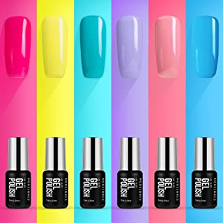 Modelones Gel Nail Polish Set with Base Top Coat - UV LED Soak Off Gel Polish Kit of 6 Candy Rainbow Neon Colors for Summer Spring Nail Art Box, 0.25OZ 7ML