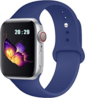 RolQitee Compatible with Apple Watch Band 38mm 40mm 42mm 44mm for Women Men Comfortable Soft Silicone Sport Band Compatible with for iWatch Series 5/4/3/2/1, Nike+, Sport, Edition