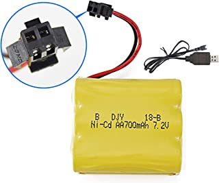Fistone Rechargeable 7.2V 700mAh Ni-Cd Battery Pack for Remote Control Motorcycle Buggy Stunt Racing Drift Vehicle and RC Truck Crawler Tower Crane with Charging Cable SM 2P Plug