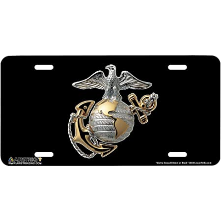 WONDERTIFY License Plate Us Marine Corps Badge on Black Background Decorative Car Front License Plate,Vanity Tag,Metal Car Plate,Aluminum Novelty License Plate for Men//Women//Boy//Girls Car,6 X 12 Inch