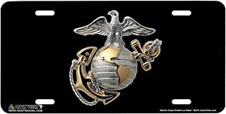 Airstrike USMC License Plate Marines License Plate-Marine Corps Emblem on Black Made in USA Metal License Plate-669