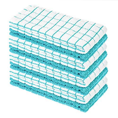 StickandShine - Confezione da 8 strofinacci in spugna, 40 x 64 cm, colore: Bianco/Turchese a quadretti di StickandShine, 100% cotone, Öko-Tex Standard 100