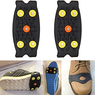New!DEESEE(TM) Anti Slip Ice Climbing Spikes Grips Crampon Cleats 5-Stud Shoes Cover (Black)