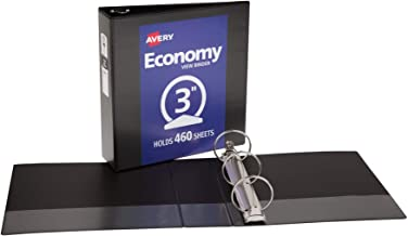 Avery Economy View Binder with 3-Inch Round Ring, Black (5740)
