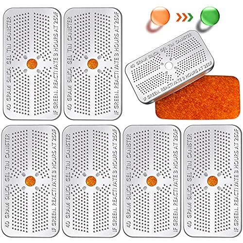 40 Gram Indicating Silica Gel Desiccant Canister Dehumidifier Orange Indicating Desiccant Reusable Moisture Absorber Bag for Car Closet Cabinet Bag Storage Box (6 Boxes)
