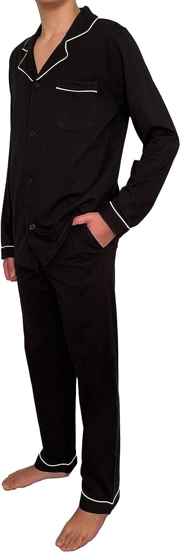 GIVEITPRO -100% Cotton Jersey Knit, Men's Long Button-Down Sleepwear Pajama Set