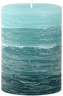 Nordic Candle - Layered Pillar Candle - 3x4 Inch Teal - Unscented