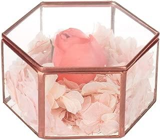 Feyarl Vintage Jewelry Trinket Glass Box Ornate Ring Earring Box Preserved Flower Glass Box Decorative Box (Copper)
