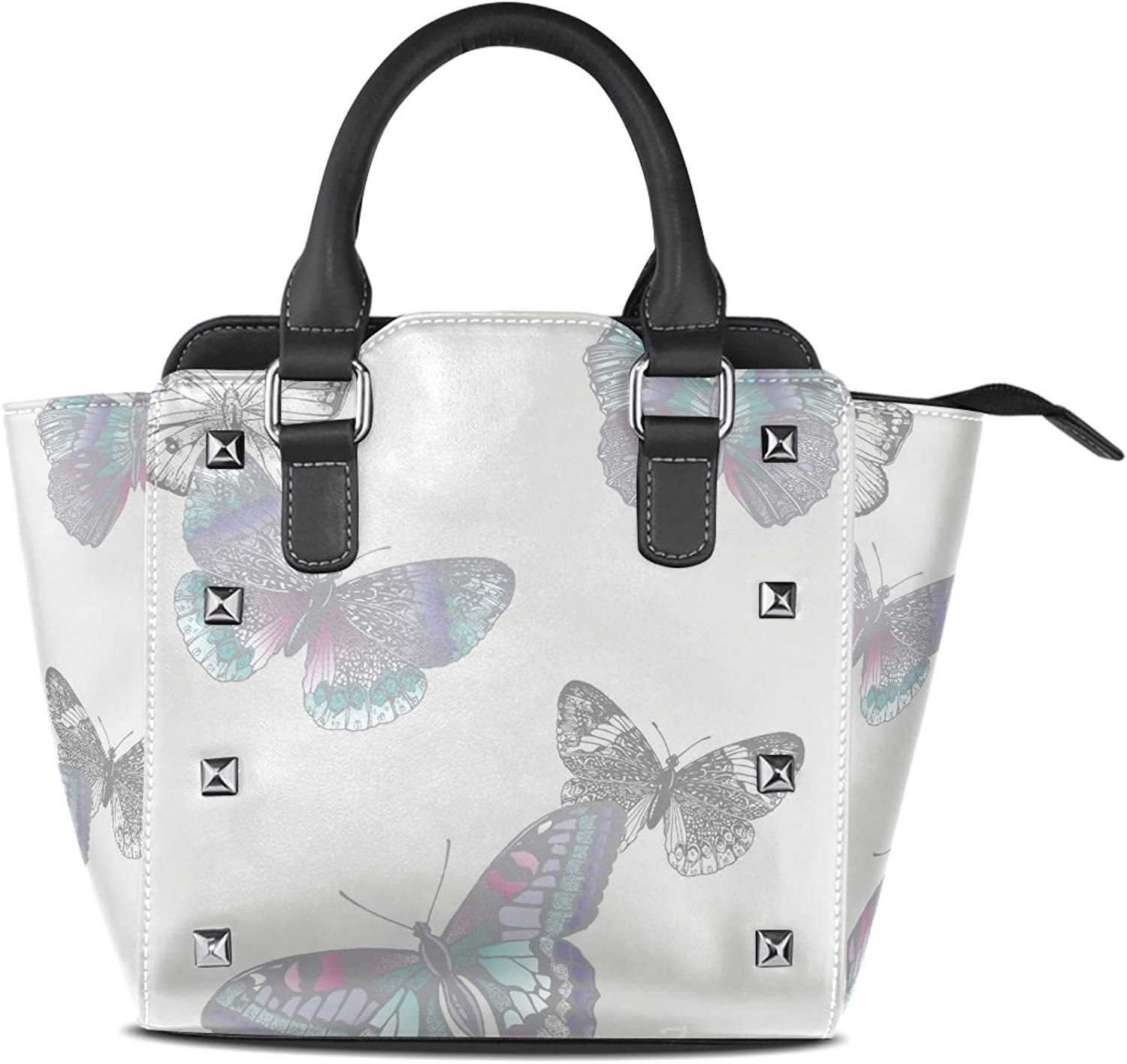 Sunlome Retro Butterfly Print Women's Leather Tote Shoulder Bags Handbags