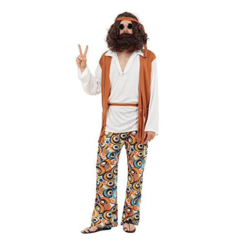 Mens Retro Brown /& Beige 70/'s Suit Groovy Disco Fancy Dress Costume