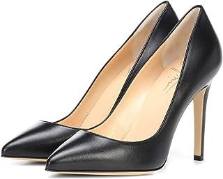 Cdvintu Women Pointed Toe High Heels 4 inches Coverd Stilettos Slip On Shallow Pumps