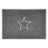 Nicoman Estrella - Felpudo Logotipo en Relieve Rizos de Vinilo Entrada Bienvenido Lavable Alfombra - (Usar en Interiores y Exteriores), Grande (90x60cm), Gris