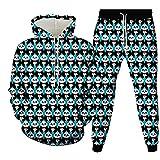 Conjuntos de Sudaderas con Capucha Unisex con Estampado 3D Sudadera con gráficos de Animales Sudaderas con Capucha Transpirables Jersey de Moda con Bolsillos + Pantalones con cordón/Panda XXL