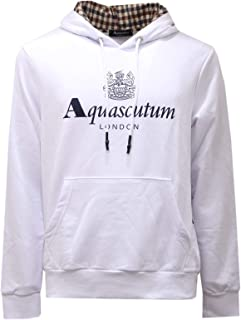 Aquascutum 2594AE Felpa Cappuccio Uomo White Cotton Sweatshirt Man