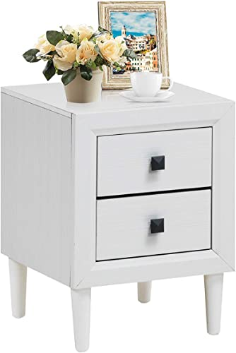 high quality Giantex Nightstand Wooden W/Two Storage Drawers and Handles,Waterproof Material for popular Bedroom Living Room End online Table (1, White) online sale