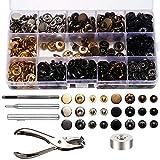 120Set Bottoni Automatici a Pressione Metallo, Rivetti Bottoni per Cuoio con Punch Pinze e 4 Pezzi Kit di Attrezzi di Fissaggio per Abiti Decorazione Riparazioni Artigianali (6 Colori, 12.5mm)