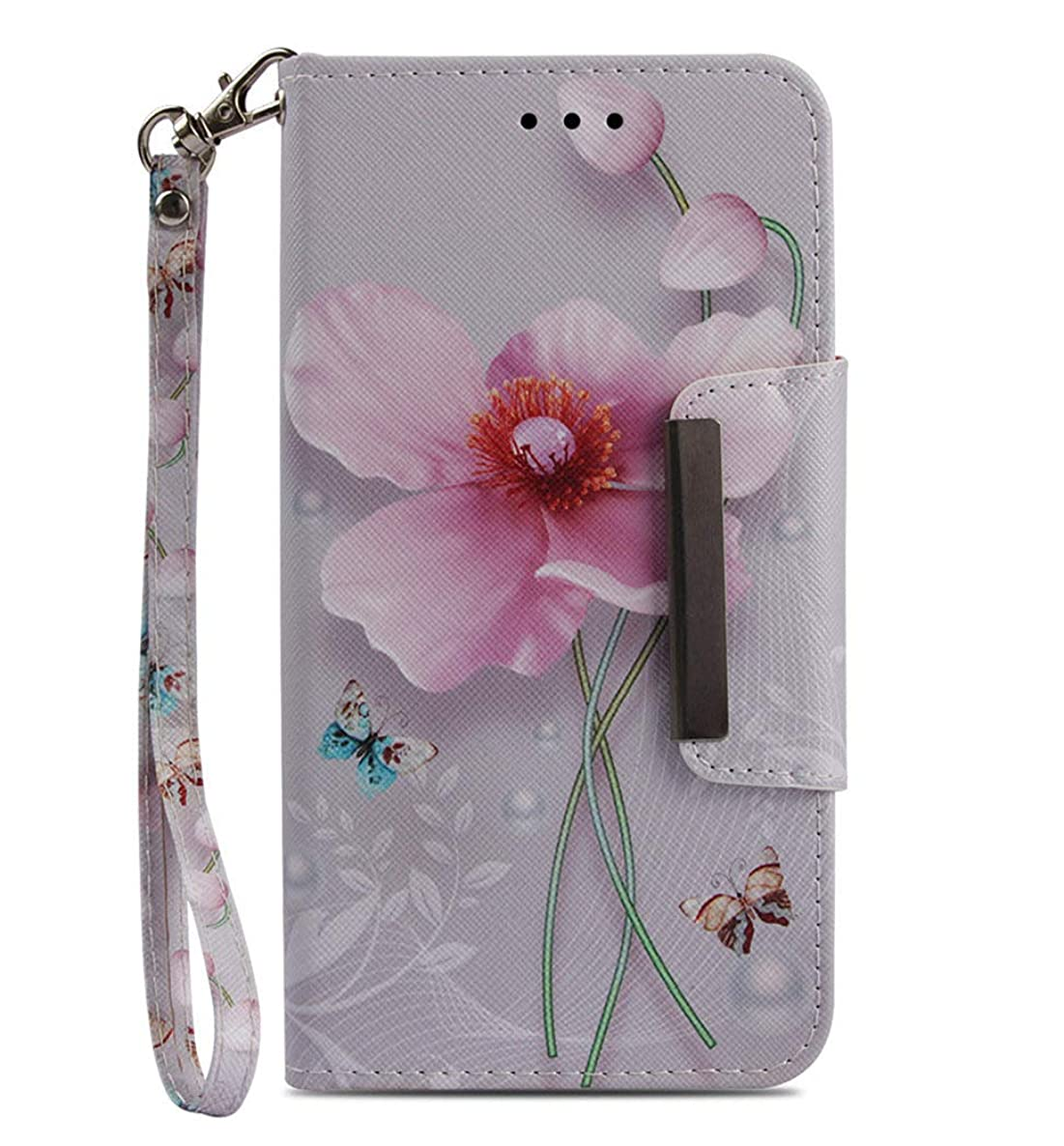 JanCalm iPhone 6 6S Wallet Case [Folio Cover][Stand Feature] Premium [Flower] Pattern iPhone 6/6S (4.7 inch) Credit Card Flip Case Protective PU Leather with Card Slot + Wrist Strap + Crystal Pen