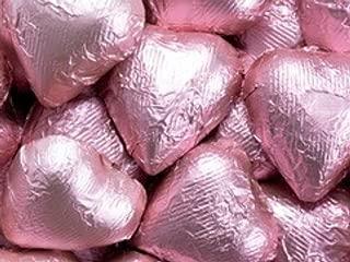 Light Pink Foiled Milk Chocolate Hearts 5LB Bag