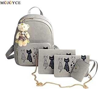 4Pcs/Set Small Backpacks Female School Bags for Teenage Girls Black Pink PU Leather Women