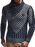 Leif Nelson Jersey de Punto Grueso Chal Collar de los Hombres de LN-5255 Negro-Color Crudo...