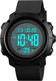 Men's Sports Watches Digital LED Face Backlight Military Waterproof Black Watch Birthday for Boys Girls
