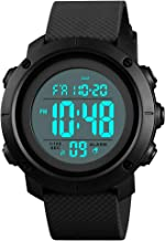 Men's Sports Watches Digital LED Face Backlight Military Waterproof Black Watch Birthday for Boys Girls …
