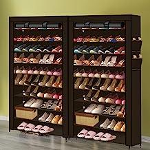 2X Levede Shoe Rack Storage Cabinet Cube DIY Organiser 10 Tier Organizer Brown